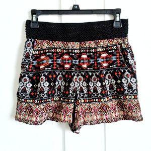 Women's Printed Shorts with Crochet Waist Detail